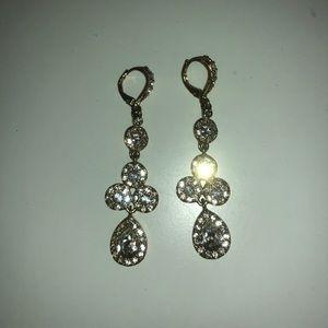 Gold crystal dangling earrings